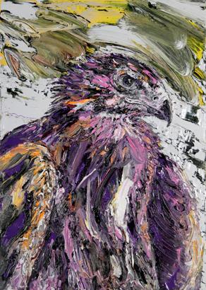 Roofvogel 70x50 cm olie op linnen 2015